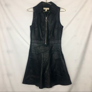 MICHAEL Kors Leather Fit And Flare Mini Dress